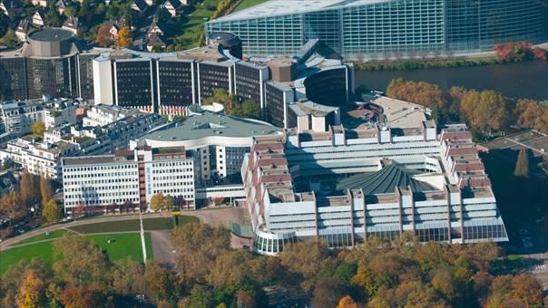 Palace of Europe and European Parliament in Strasbourg. Photo: Thierry GRUN - Aero / Alamy Stock Photo