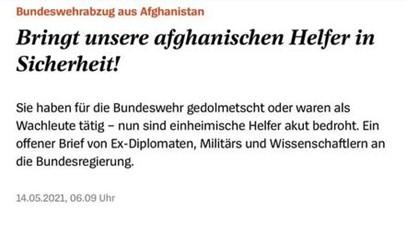 Bringt unsere afghanischen Helfer in Sicherheit